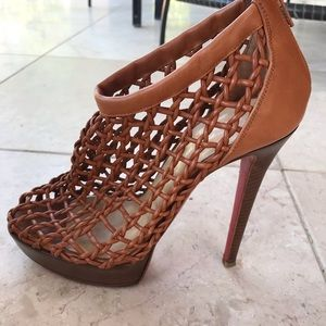 Louboutin Leather Caged Platform Booties